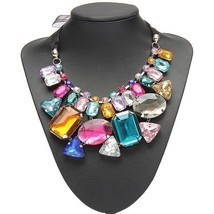 Colorful Big Crystal Statement Necklace Ribbon Chain Women Hot New Fashi... - $233,88 MXN