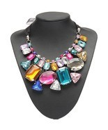 Colorful Big Crystal Statement Necklace Ribbon Chain Women Hot New Fashi... - $216,50 MXN