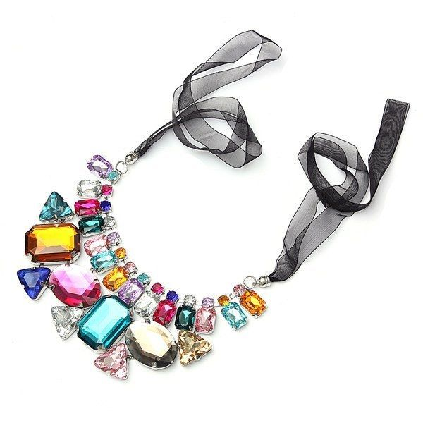 Colorful Big Crystal Statement Necklace Ribbon Chain Women Hot New Fashion Cute