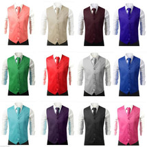 New Men Formal Casual Tuxedo Suit Dress Vest Waistcoat & Neck tie Weddin... - $16.49+