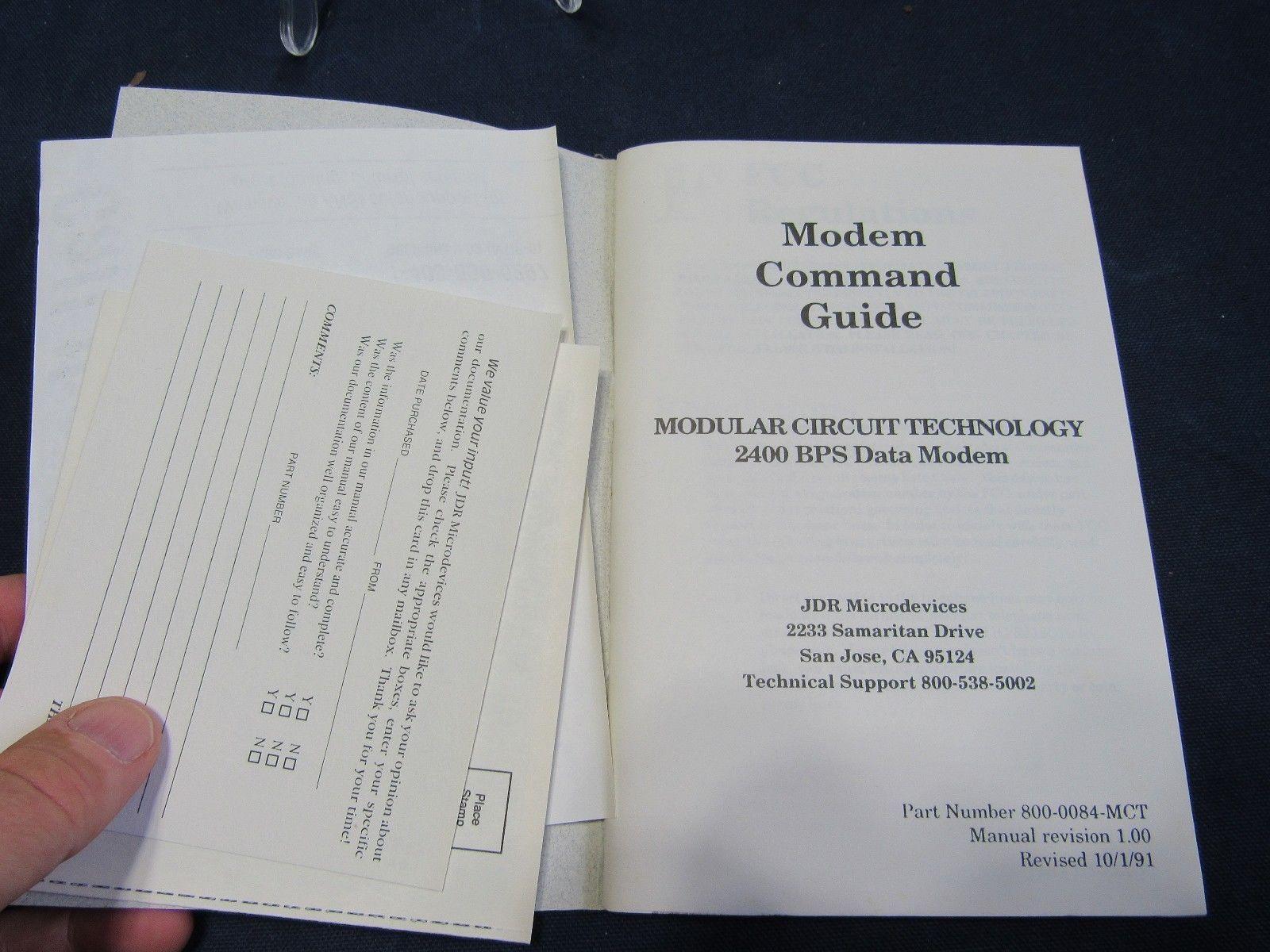 VTG Modem Command Guide 2400 BPS Data Modem JDR Microdevices Modular Circuit
