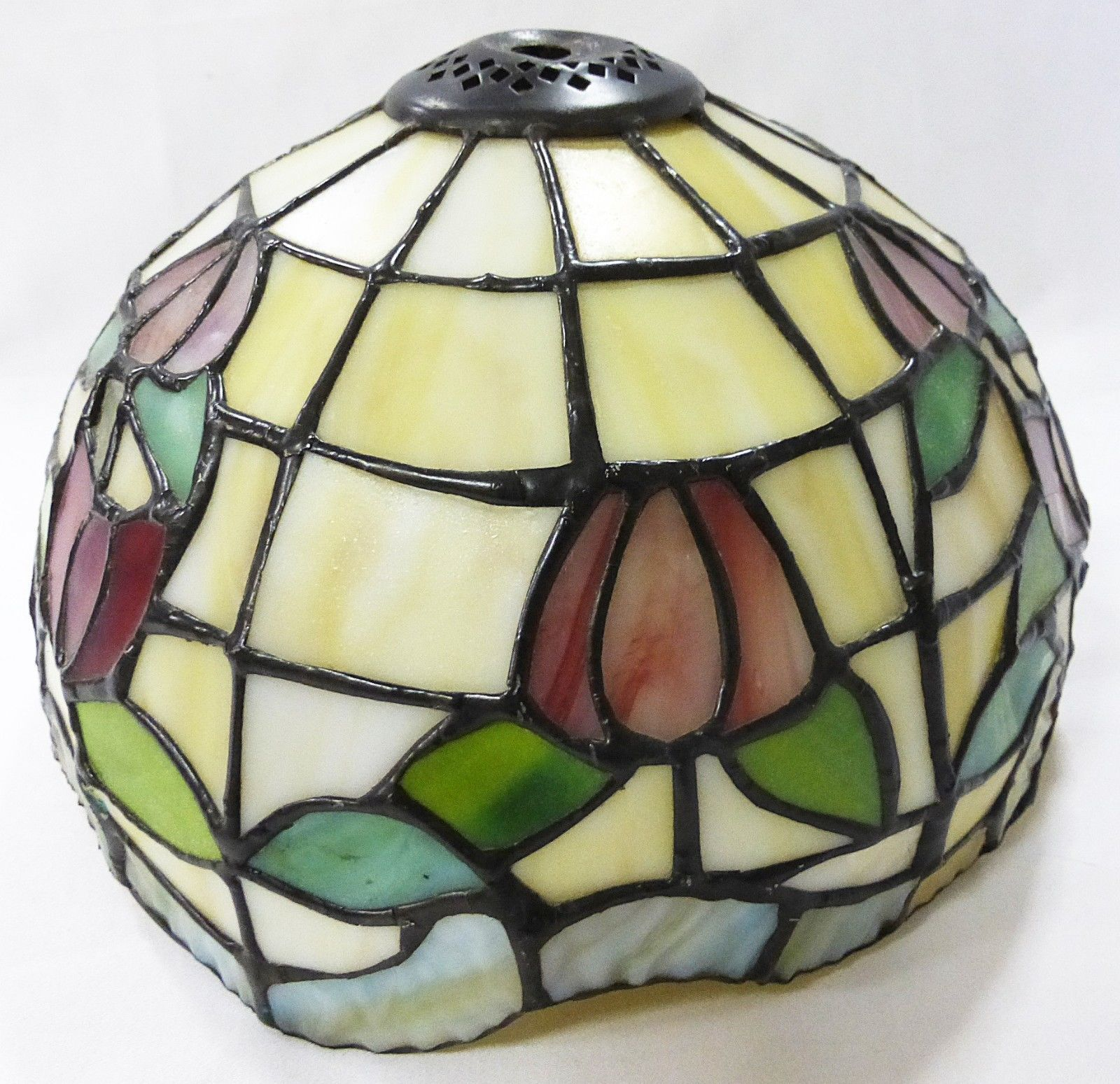 tiffany style lamp shade leaded stained glass heavy vintage shades. Black Bedroom Furniture Sets. Home Design Ideas