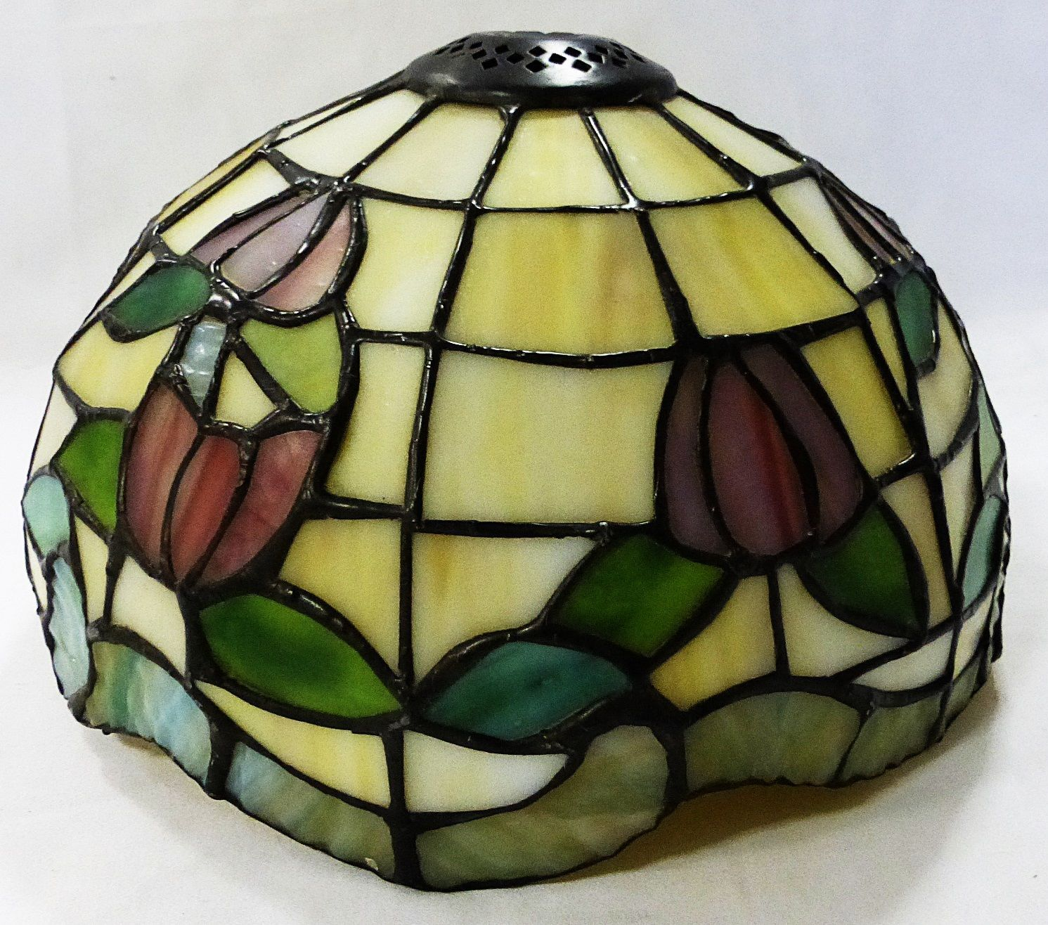 Leaded Stained Glass : Tiffany style lamp shade leaded stained glass heavy