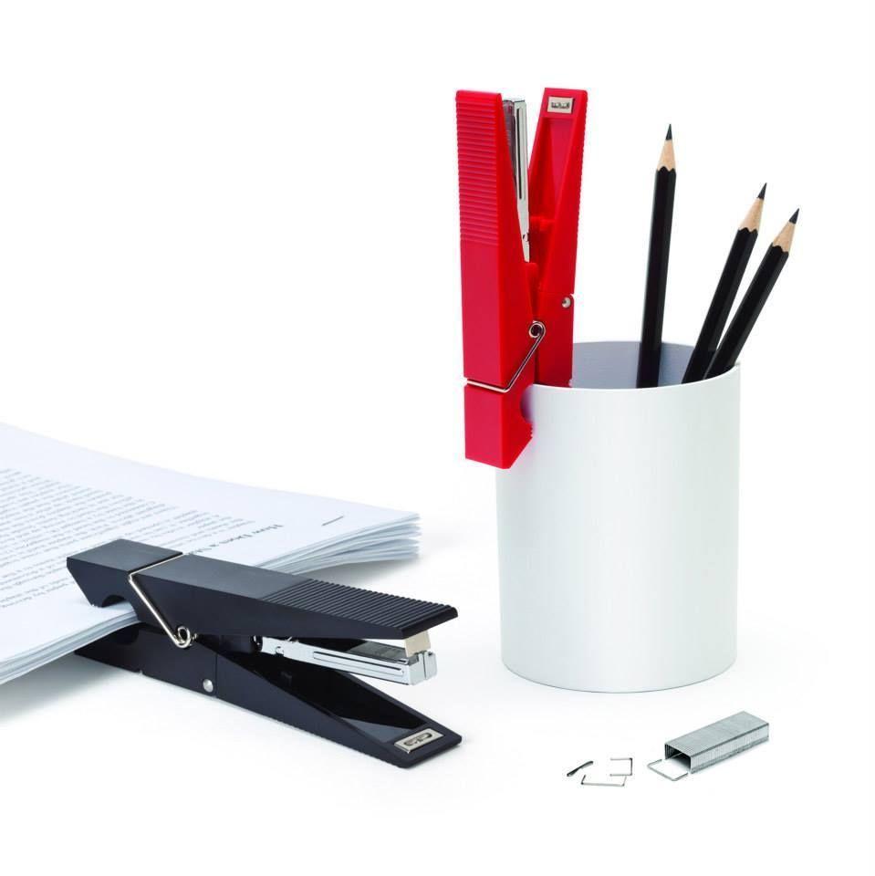 Office Boss Set Desk Décor Designer Gift Funky PAPER PEG Stapler & SARDINE CLIPS