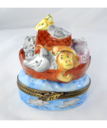 Limoges Box - Noah's Ark and Bird House - Lion Giraffe Monkey - Peint Main - $95.00