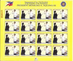 15th Philippine President Benigno S. Aquino III Inauguration stamp sheet... - $7.95