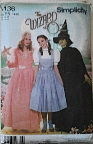 Simplicity 4136 Misses` Wizard of Oz Costume- Dorothy,Good or Bad Witch Size R5