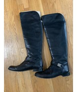 COACH Madeleine 9 over the knee leather boots $498 black back zipper sil... - $126.09