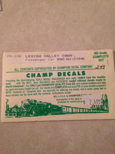 Champ Decals PH-108 Lehigh Valley Model Railroad Train Decal Passenger Car Stan