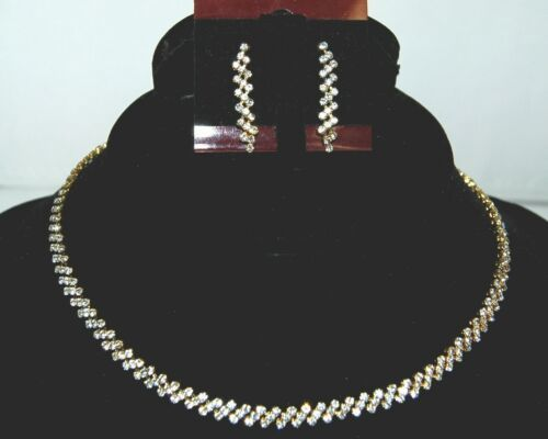 BVT NK Necklace and Dangle Earring Set Crystals Gold Color
