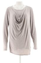 H Halston Long Slv Wrap Front Cowl Neck Knit Top Hthr Light Grey M NEW A... - $29.68