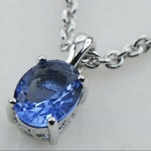 925 Sterling Silver Tanzanite Pendant Necklace Oval Cut [PEN-162] - $23.76
