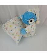 1990 Nanco Stuffed Plush Sleepy Sleeping Blue Teddy Bear Pillow Night Cap Bows - $247.49