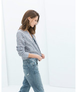 ZARA **Sold-Out** LACE Floral Pastel Blue BOMBER Zip Jacket SMALL Free S... - $128.64