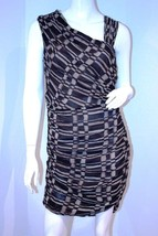 Marc Andrew New York Dress Asymmetric Abstract Grid Print Ruching 6 $128 - $98.95
