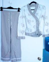 H&M Sleepwear Pajama 2-Piece 100% Cotton Kimono Top Drawstring Waist Floral XS - $19.75