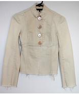 HEART MOON STAR Beige Destroyed Asymmetric Blazer Button Fitted Jacket XS - $19.75