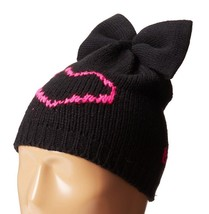 BETSEY JOHNSON Winter HAT Cap BLACK Pink HEART ... - $39.22 CAD