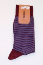 MISSONI MADE IN ITALY DRESS SOCKS BURGUNDY BLUE 100% COTTON LOGO LARGE F... - $39.55