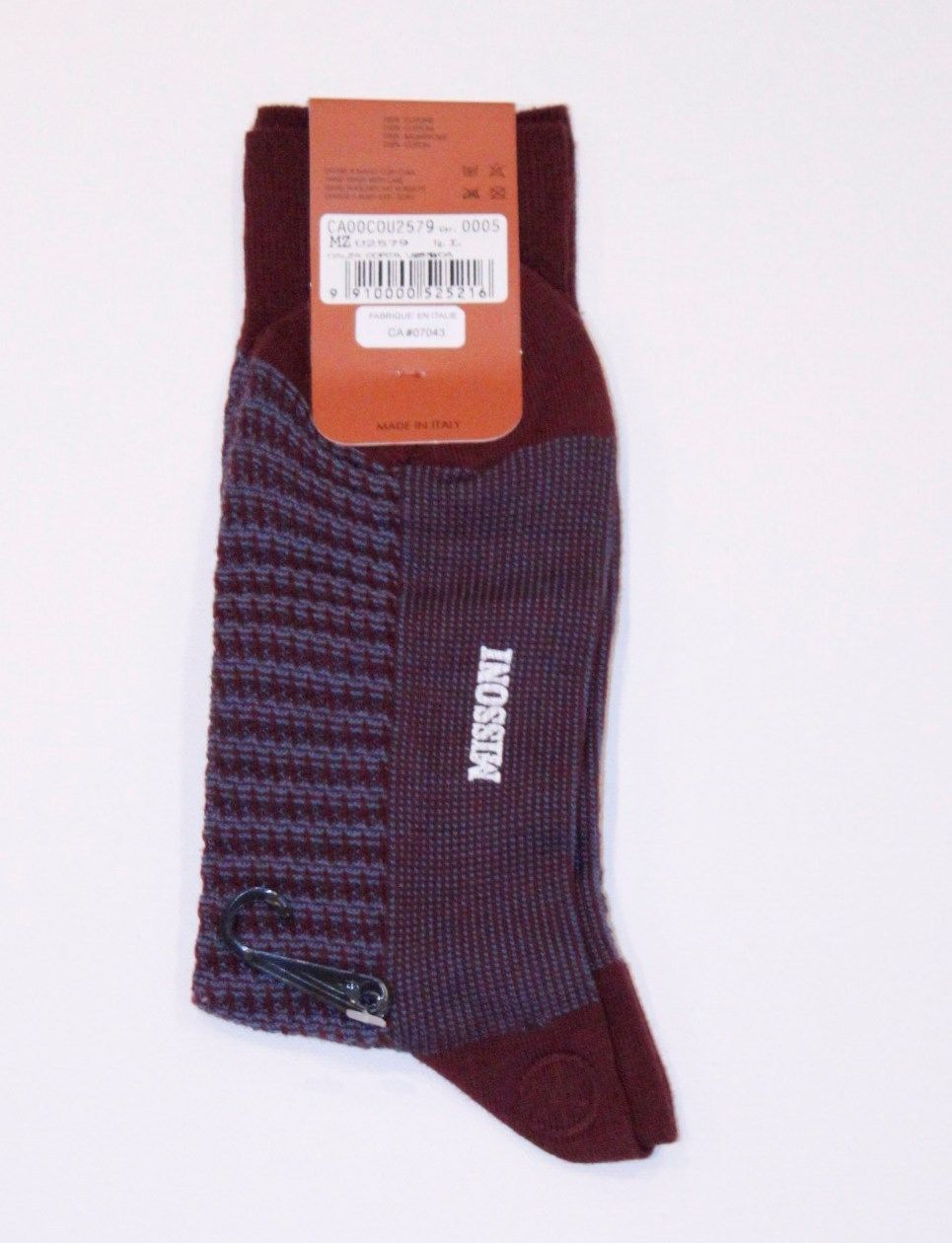 MISSONI MADE IN ITALY DRESS SOCKS BURGUNDY BLUE 100% COTTON LOGO LARGE FREE SHIP