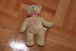 AVON MINI BEIGE BEAR PINK HEART & BOW SOFT - $19.75