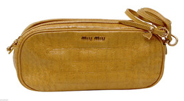 Miu Miu Yellow Patent Leather Clutch Shoulder Bag Wrist Purse Gold Croc ... - $272.25