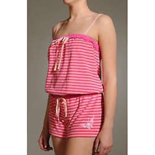 BETSEY JOHNSON Intimates Baby PINK Striped TERRY Romper BUTTERFLY Embroidered