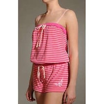 BETSEY JOHNSON Intimates Baby PINK Striped TERRY Romper BUTTERFLY Embroi... - $89.05