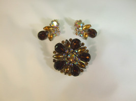 Juliana Amber and Topaz Brooch and Earrings  - $60.38