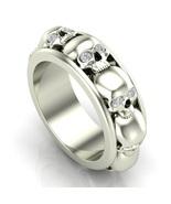 Skull Wedding Ring in Silver with Eye Choice - $299.99