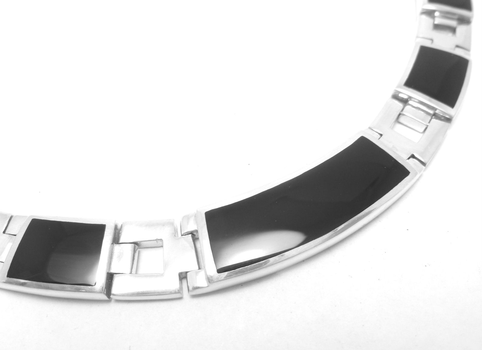 "Primary image for Sterling Silver Rectangle Black Onyx Link 17"" Choker Necklace"