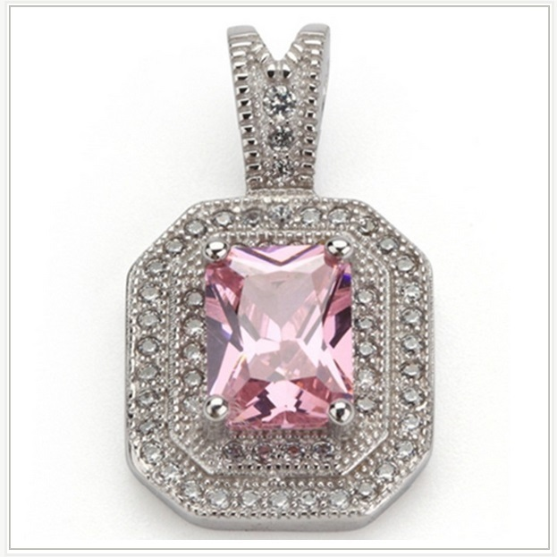 Pink Quartz Crystal with Diamond Rhinestone 925 Stamped Sterling Silver Pendant