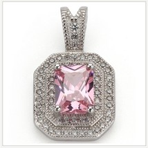 Pink Quartz Crystal with Diamond Rhinestone 925 Stamped Sterling Silver Pendant  image 1