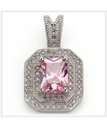 Pink Quartz Crystal with Diamond Rhinestone 925 Stamped Sterling Silver ... - $59.95