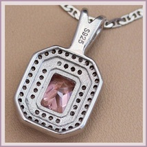 Pink Quartz Crystal with Diamond Rhinestone 925 Stamped Sterling Silver Pendant  image 2