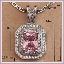 Pink Quartz Crystal with Diamond Rhinestone 925 Stamped Sterling Silver Pendant  image 3