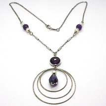 SILVER 925 NECKLACE, AMETHYST PURPLE, TRIPLE CIRCLE PENDANT, MILLED image 1