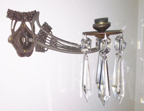 VTG Brass Hanging Wall Sconce Candle Stick Holder w/6 Waterford Chandelier Drops