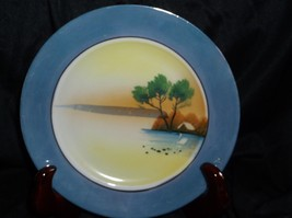 Hand painted oriental plate lavender luster border - $9.90