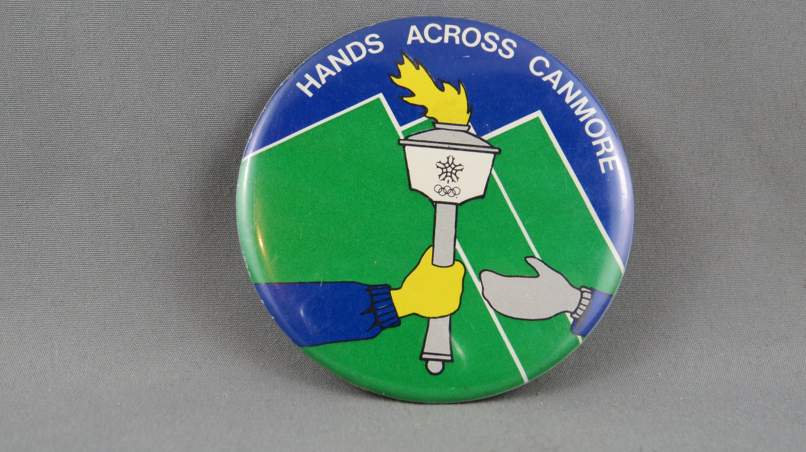 Primary image for Rare - 1988 Winter Olympics Game Button - Torch Relay Pin for Canmore Alberta
