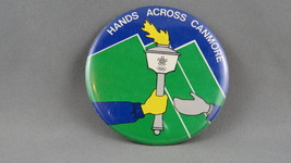 Rare - 1988 Winter Olympics Game Button - Torch Relay Pin for Canmore Al... - $19.00
