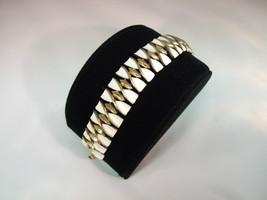 Trifari Signed Bracelet ~ White and Gold Toned - $32.03