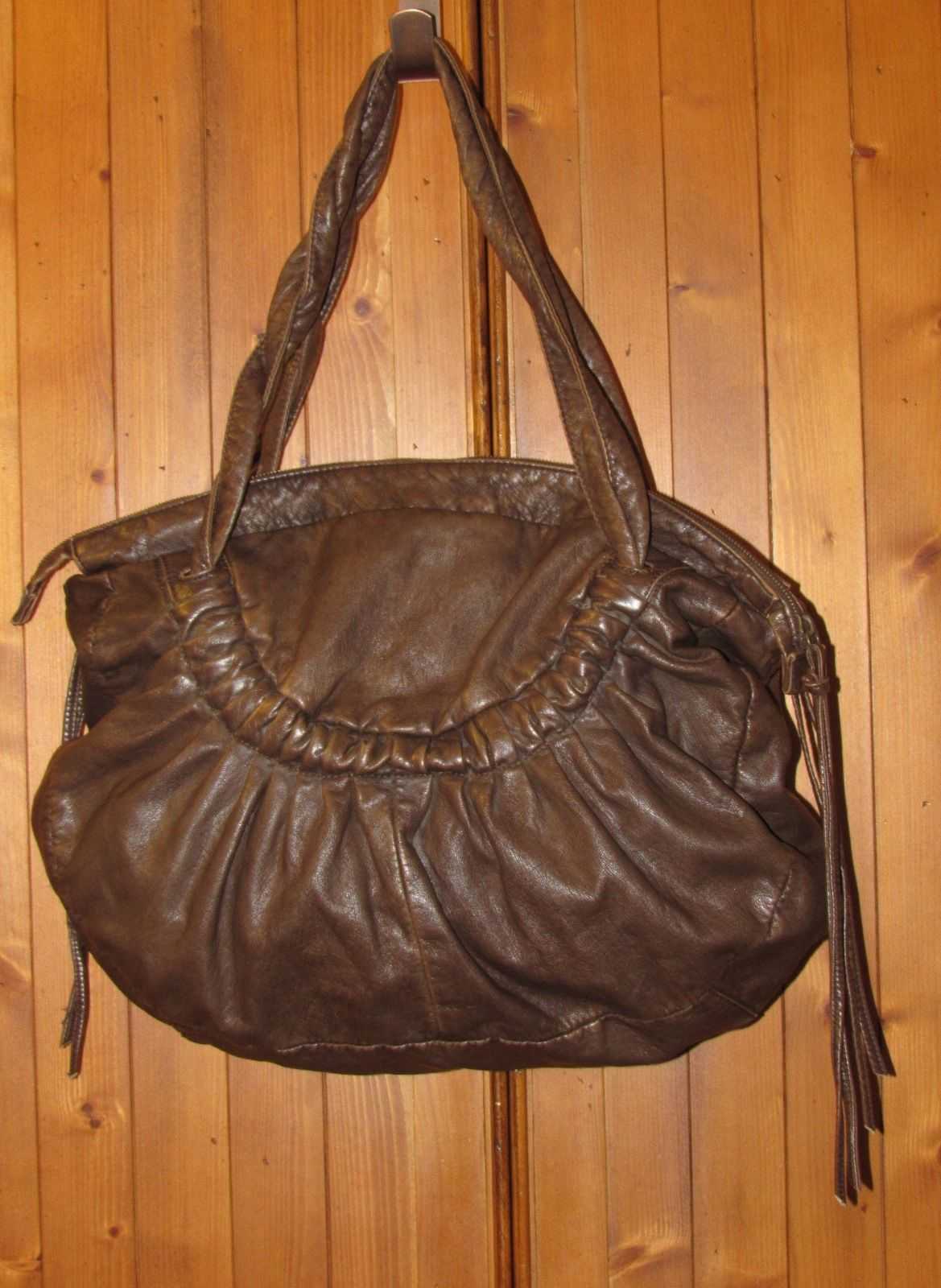 Deux Lux Brown Soft Faux Leather Hobo Shoulder Bag w/Double Twist Handles