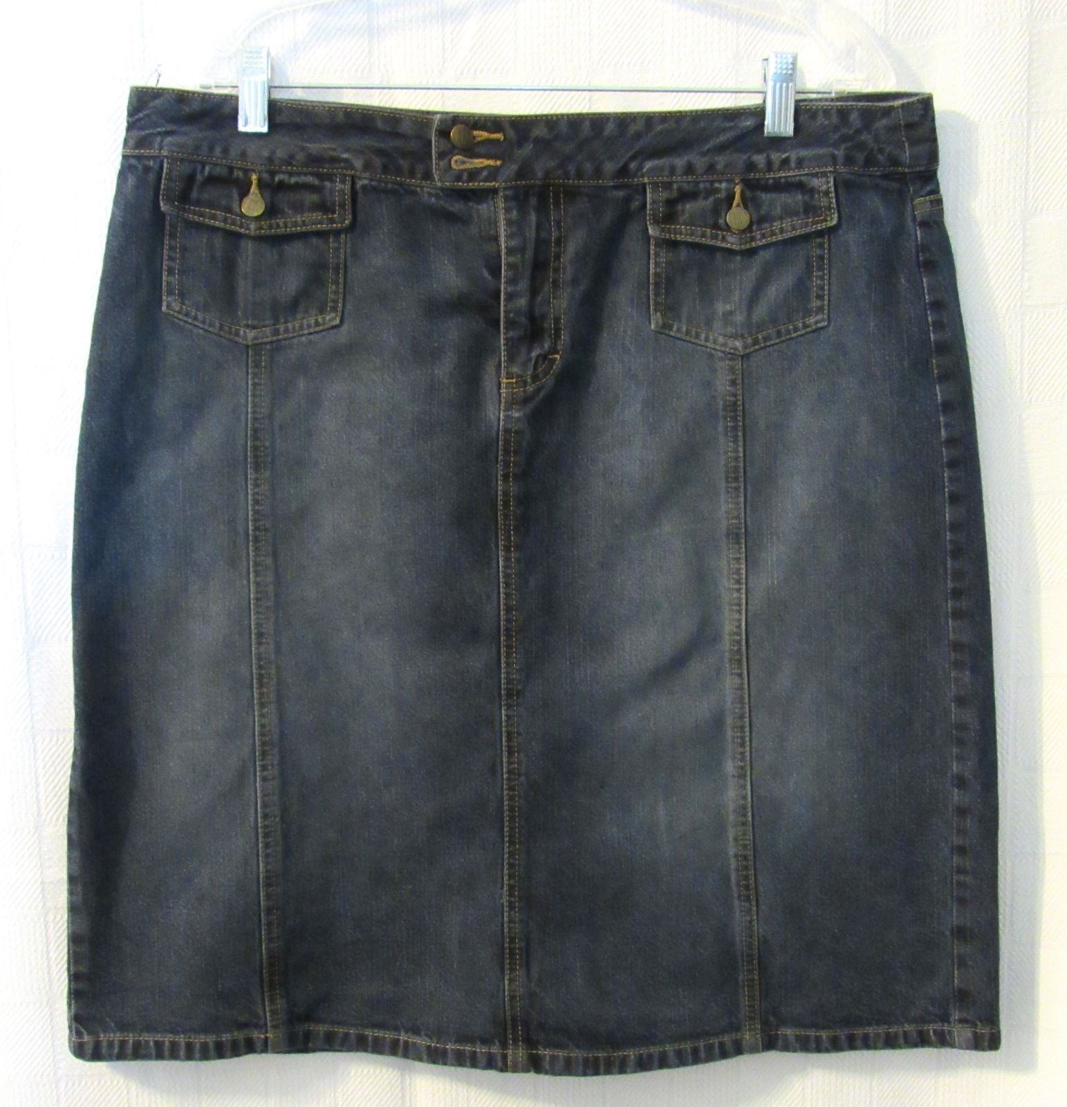 NY & Co Jeans Women's Solid Blue Denim Cotton Jean Knee-Length Skirt S: 16