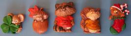 (5) HALLMARK MERRY MINIS PINS 1980's Shamrock Acorn ST Raccoon &  Squirr... - $29.70