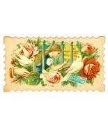 Victorian Die cut Greeting Card Chromolithograp... - $9.89