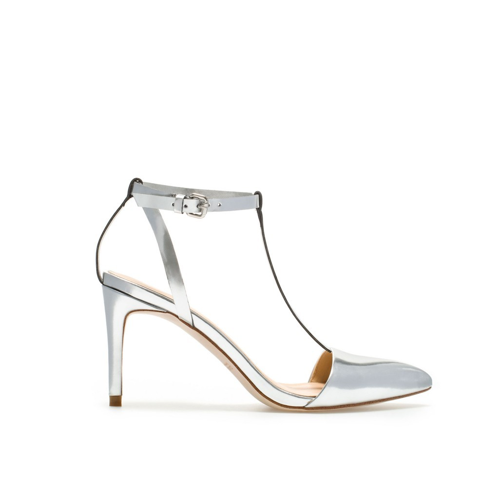 278bb4c52b7 Zara Basic Silver T-Strap Pointed Toe Heels and 50 similar items