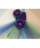 BABY GIRL PEACOCK COLORED TUTU DRESS WITH HEADB... - $18.00