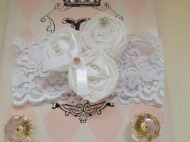 Baby Girl Wide White Lace Headband With 3 Rolled Rosettes - $12.00