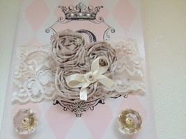 Baby Girl Wide Ivory Headband With Three Rolled Rosettes - $12.00